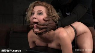 Atrocious doggy style banging for hot slave while she gives wet deepthroating