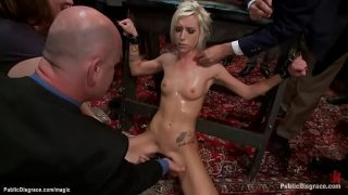 Bound blond groped and public fucked