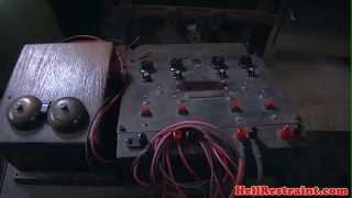 Electro bdsm sub dominated by master