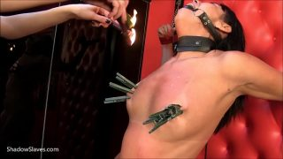 Lesbian BDSM and erotic domination of latina slave girl Sarah in hot wax punishment