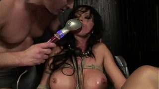 Under total domination. Humiliated bitch Cony Ferrara, mouth fucked and screwed painfully in her all holes. BDSM movie. Hardcore bondage sex.